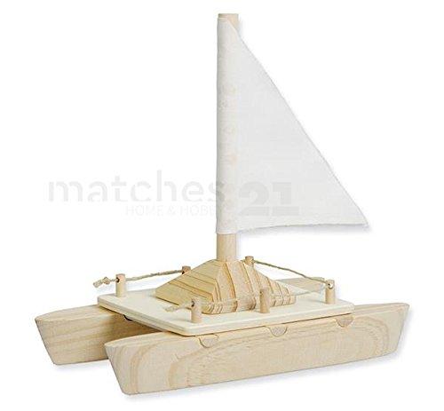 matches21 Katamaran Boot Segelschiff aus Holz mit Segel komplett vorgefertigter Bausatz zum Selbstgestalten für Kinder ab 5 Jahren
