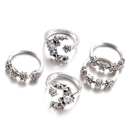 LJSLYJ 5 stücke Ringe für Frauen Tiny Kristall Mond Fingerknöchel Ring Set