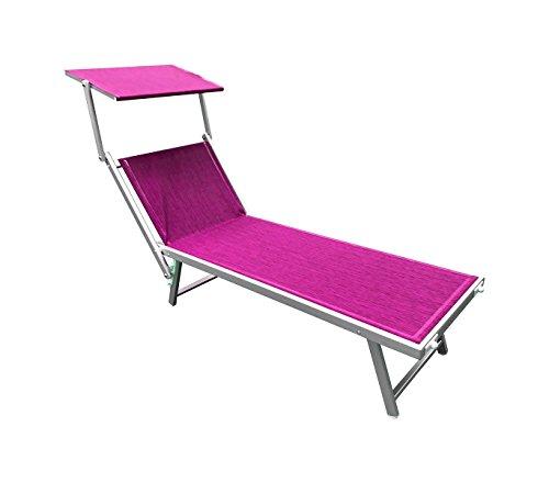 Mediawave store lettino prendisole alluminio con parasole luxurious beach 180x60x40 cm fucsia