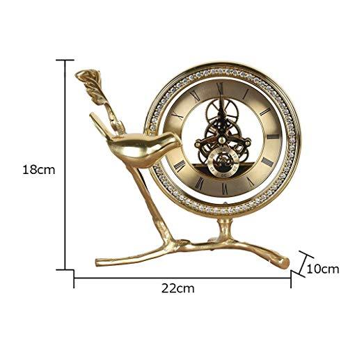 MU Home Wohnzimmer Wanduhr, Nachttischuhr-European Minimalist Atmospheric Crafts Stille Tischuhr Home Wohnzimmer/Schreibtisch/Schlafzimmer Kreative Ornamente,22 * 18 * 10 cm -