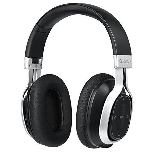 AudioMX Bluetooth Over-Ear Stereo Kopfhörer mit aptX Technologie und Integriertem Mikrofon, 24 Stunden Akkulaufzeit, Silber