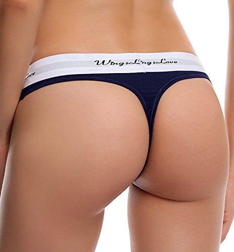 WingsLove Damen 3 er Pack Hüftiger Strings Tangas Thongs Hüftslip Navy Blau