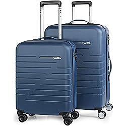 JASLEN - Juego Set 2 Maletas Trolley 50/60 cm ABS. Expandibles. Rígidas, Resistentes y Ligeras. Mango telescópico, 4 Ruedas Dobles. Candado Integrado TSA. Pequeña Low Cost 56615, Color Azul