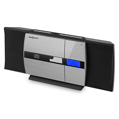 oneConcept V-15 Equipo de música • Minicadena estéreo • Bluetooth • CD Compatible con MP3 • LCD • USB • Radio FM • Despertador • Montaje Pared • Compacto • Aluminio • Negro-Plateado
