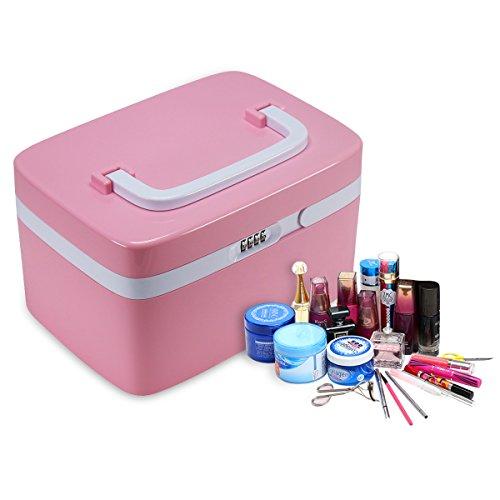 Fine Dragon Tragbare Kosmetik Organizer Aufwahrungbox Make Up Kosmetikkoffer Schminkkoffer mit Zahlenschloss,Rosa