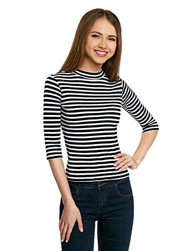 3/4-Ärmel-gerippter Pullover (oodji Ultra Damen Pullover aus Geripptem Stoff mit 3/4 Arm, Schwarz, DE 40 / EU 42 / L)