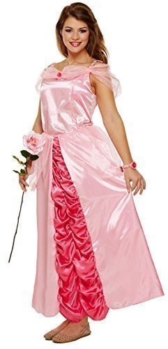 Damen lang rosa Prinzessin Märchen Henne Do Halloween Kostüm Kleid Outfit UK 8-10-12