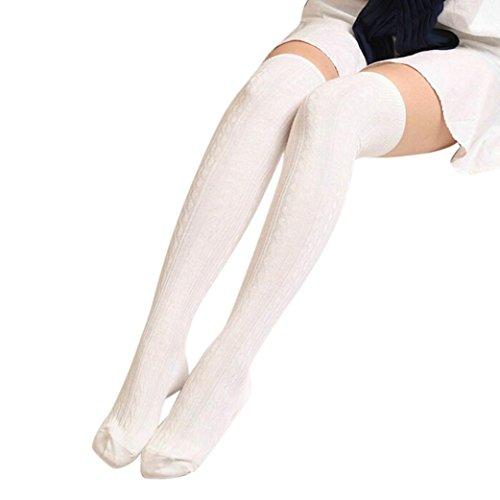 Strumpf Schenkel-hoher Kaffee (Lange Overknee Strümpfe FORH Damen Gestrickt über Knie lange Stiefel Oberschenkel warme Socken Leggings Thigh High College Knie Socken Stricken Sport Socken Stocking Pantyhose (Weiß))
