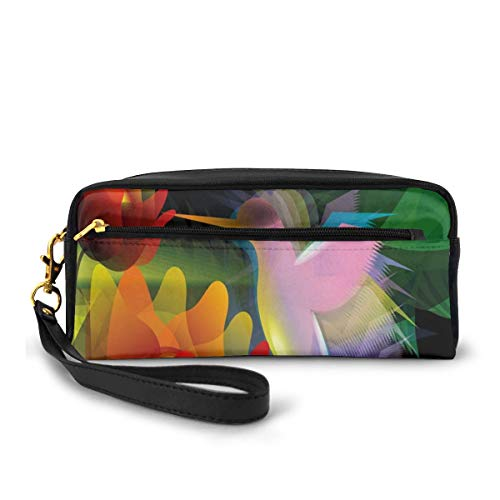 Pencil Case Pen Bag Pouch Stationary,Fantasy Digital Paint With A Bird Swallows Honey From Flower Stock Fractal Artwork,Small Makeup Bag Coin Purse -