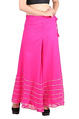 Shararat Women Georgette Flared Solid Regular Fit Stretchable Palazzo (Free Size)