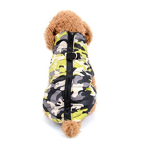 Imagen de selmai camo pequeño perro gato chaqueta de invierno chaleco acolchado pet puppy disfraz de camuflaje con arnés perrito chihuahua ropa de ropa de invierno m amarillo alternativa