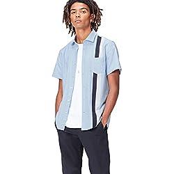 FIND Camisa Entallada de Manga Corta con Bandas Deportivas Hombre, Azul (Blue), Large