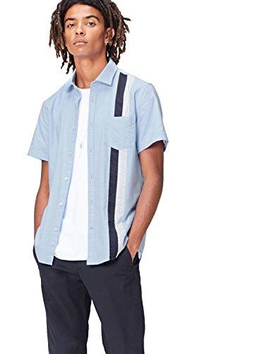 Find. camicia a righe a manica corta slim fit uomo, blu (blue), large