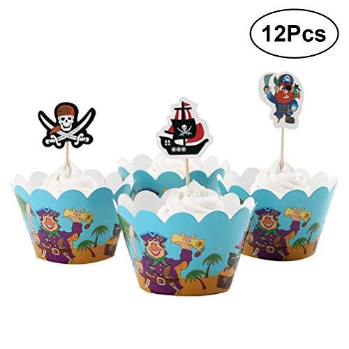 Toyvian Pirat Kuchen Deckel Wrapper - Geburtstagsfeier Kuchen Dekorationen, 12 Satz