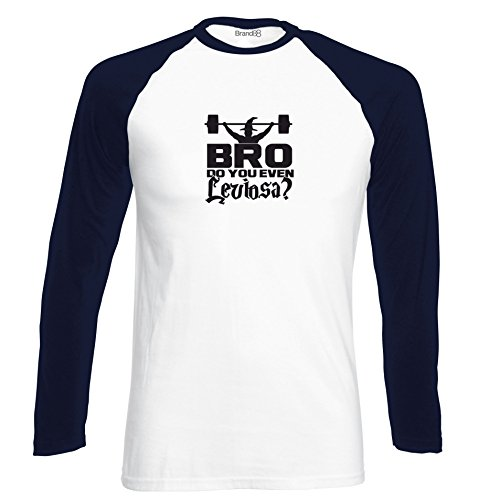 Brand88 - Bro, Do You Even Leviosa?, Langarm Baseball T-Shirt Weiss & Dunkelblau