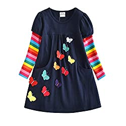 VIKITA Mädchen Kleider Streifen Langarm Baumwolle Herbst Winter T-Shirt Kleid LH5805 5T