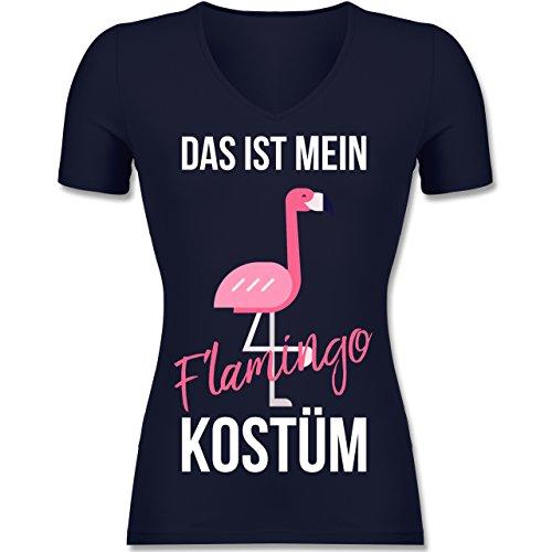 Karneval & Fasching - Das ist Mein Flamingo Kostüm - Tailliertes T-Shirt mit V-Ausschnitt für Frauen Dunkelblau