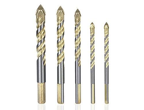 5x Mehrzweck-Bohrer, 6mm, 6mm, 8mm, 10mm, 12mm Hartmetall-Spitze Keramik-Bohrer für Fliesen, Beton, Ziegel, Glas, Kunststoff und Holz