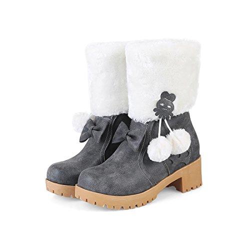UH Chaussures Femmes Bottines Douce avec Fourrure Chaud à Talons Bloc de 5 CM avec Plateforme Bout Rond Gris