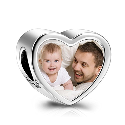 Silver Personalized Photo Charm Fit Pandora Bracelet Necklace Customized Heart Round Shape Picture Bead ()