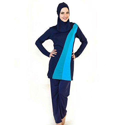 Bañadores de musulmán islámica Bañador para mujer bañadores de Hijab cobertura total de baño musulmán natación playa traje de baño Burkini, azul