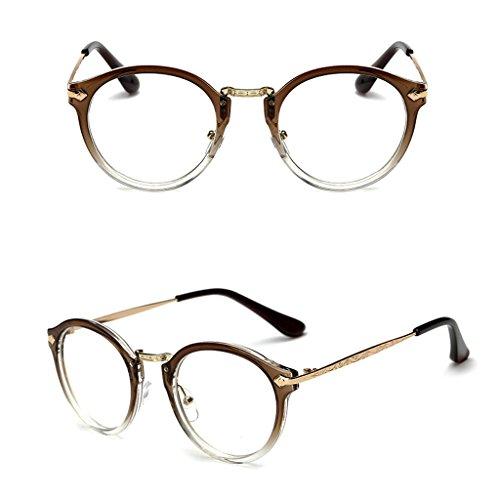 logres 1Vintage Herren Frauen rund Rahmen Klare Full Rand Brille Circle Eyewear Optische (# 015)
