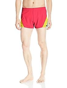 dbb78bf1eb Sauvage Men's European Nylon Lycra 80s Color Block Swim Trunk, Red Yellow  Turquoise, Medium