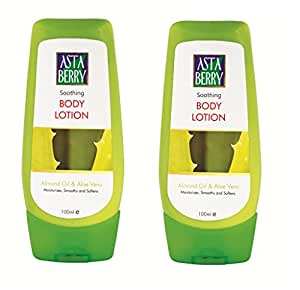 Astaberry Soothing Body Lotion ( 100 ml)- With Almond Oil & Aloevera (Pack of2)