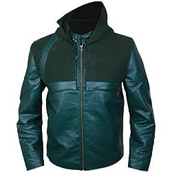 Chaqueta de piel genuina de Green Arrow con capucha removible L