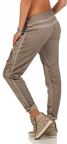 Damen Hose leichte Freizeithose Stoffhose elegante Haremshose mit Stickerei Totenkopf Tunnelzug feinen falten für den Sommer One Size S M L Taupe