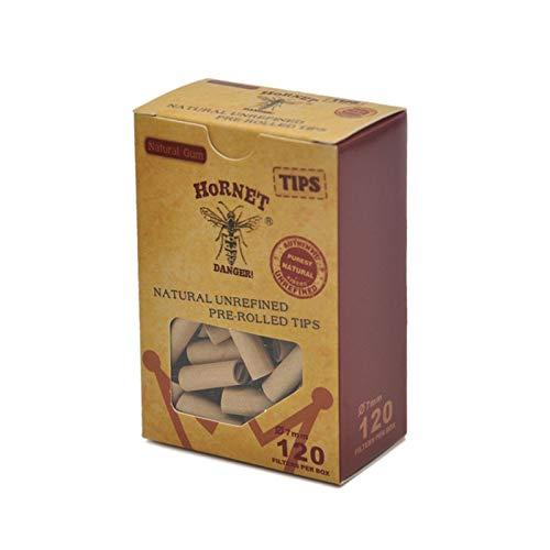 120 x Hornet Praktische vor natürlichen Unraffinierte Zigarette Filter Rolling Paper Tipps 7 mm Zigarettenpapier gerollt -