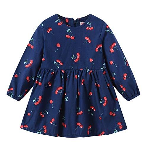 Baby Laufstall Kostüm - LEXUPE Kleinkind Baby Kinder Mädchen Langarm Kirschdruck Reißverschluss Prinzessin Kleider Kleidung(Marine,130)