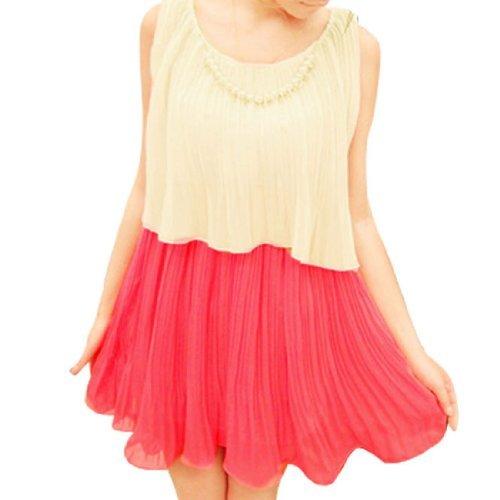 sourcingmap® Damen Abgestuft Plissiert Abnehmbar Fake-perle Kette Dekor Kleid - Rot, Damen, (Perlenketten Fake)