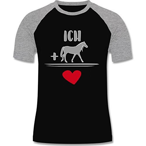 Pferde - Pferde-Liebe - zweifarbiges Baseballshirt für Männer Schwarz/Grau Meliert