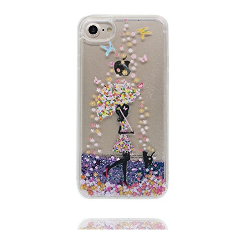 "iPhone 6S Coque, Skin Hard Clear étui iPhone 6 / 6S, Design Glitter Bling Sparkles Shinny Flowing iPhone 6 Case Shell 4.7"", résistant aux chocs et ring Support - Umbrella Fille # 2"