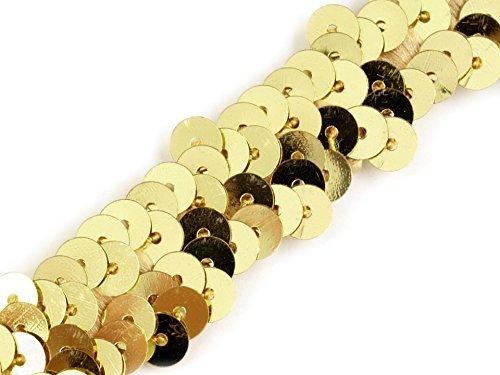 Stoffe-Online-Shop Stretch-Pailletten, Paillettenband, Paillettenborte elastisch, in Silber, rot, Gold und rosa erhältlich, Breite 20mm, VE: 1,5m (Gold)