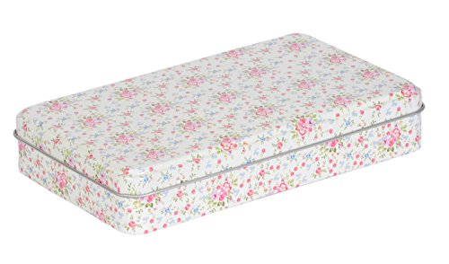 Enwraps cream flowers print flat multipurpose meal/tin utility box for home/kitchen/casual gift. LWH(cms)= 19x11.5x3.5