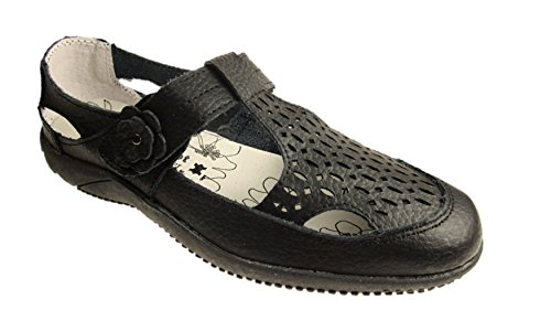 DR LIGHTFOOT WOMENS FULL LEATHER CASUAL COMFORT MARY JANE LOAFERS FLAT SHOES SANDALS GIRLS LADIES SIZE UK 3 - 8 (7, Black)