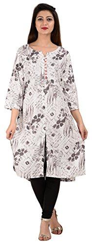 KAILANG INDO Women's Rayon Achkan Kurti (KIA0118L10036--XL, White, X-Large)