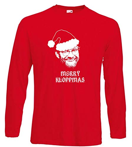 Merry Kloppmas Christmas Jurgen Klopp of Liverpool FC T-Shirt LST, Herren, rot, XXX-Large -