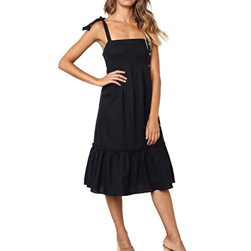 ❤❤ JiaMeng Elegant Trägerlos Rüschen Cocktailkleid süße Gemütlich Strand Sommerkleid Damen Beauty Sling Abendkleider Hochzeit Büro Dress -