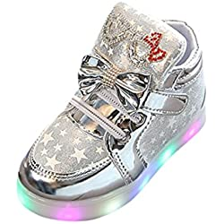 K-youth® Zapatos Unisex Niños LED Luz Luminosas Flash Zapatos Zapatillas de Deporte Zapatos de Bebé Antideslizante Zapatillas Unisex Niño Botas Niño (Tamaño: 28, Plateado)