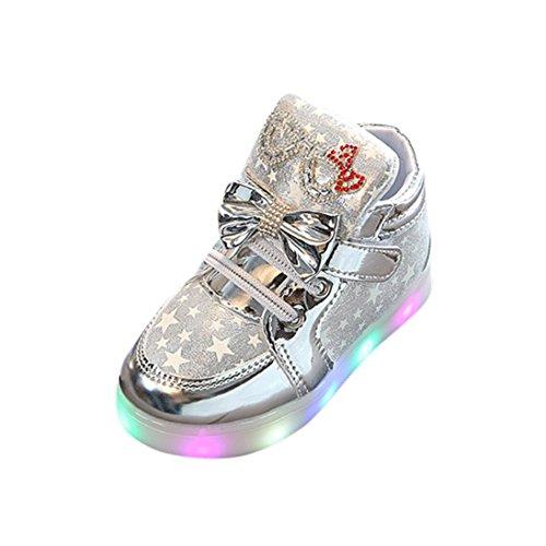 K-youth® Zapatos Unisex Niños LED Luz Luminosas Flash Zapatos Zapatillas de Deporte Zapatos de bebé Antideslizante Zapatillas Unisex Niño Botas Niño (Tamaño: 23, Plateado)