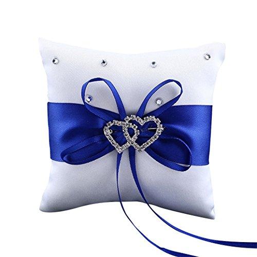 Gemini _ Mall® double cœur Strass Bague de mariage Oreiller Coussin Porteur 10 x 10 cm, Satin, bleu, Taille unique