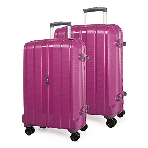 JASLEN - Set 2 trolley grandes polipropileno MUNICH, Color Fucsia
