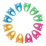 Fyless 12 Stück Nähen Clips-Spulenhalter-Fadenclips Cloth Clips Nähzubehör Bingolar Stoff Clips, Kunststoff Clips häkeln, Nähmaschine Zubehör, Multicolor zum Nähen Handwerk Häkeln Quilten Clips