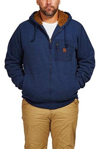 Coleman Sherpa-Lined Hoodie with Zip Chest Pocket (XXX Large, Midnight Navy (Navy, XXL) Sherpa-lined Hoodie