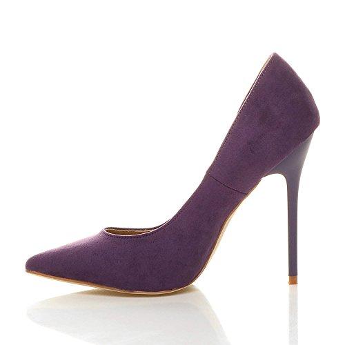 Donna tacco alto lavoro festa elegante scarpe de moda décolleté a punta taglia Viola scamosciata