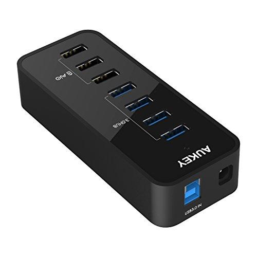AUKEY Hub USB 3.0 7 Porte [ USB 3.0*4 + Caricabatterie 2.4A*3 ] Multi-Funzione USB Hub con Adattatore d'Alimentazione 36W Compatibile con Windows 10 / 8 / 7 / Vista / XP, Mac OS, Linux, ecc. ( Nero )