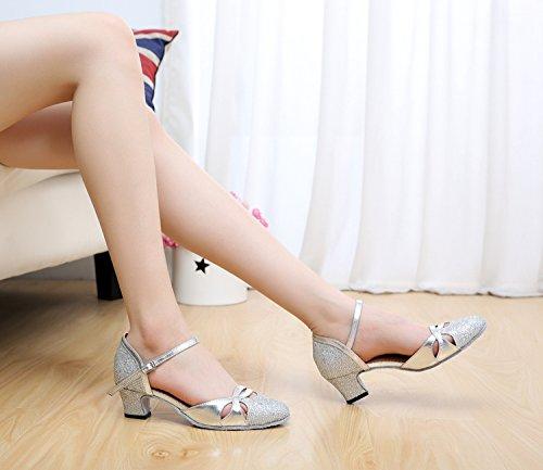Minitoo QJ707Scarpe da ballo da donna Mary Jane, con glitter, per salsa, tango, latino americano, liscio Argento (argento)